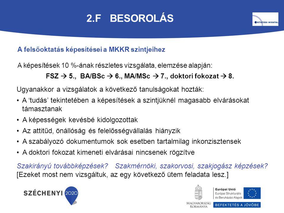 2.F BESOROLÁS A felsőoktatás képesítései a MKKR szintjeihez A képesítések 10 %-ának részletes vizsgálata, elemzése alapján: FSZ  5., BA/BSc  6., MA/