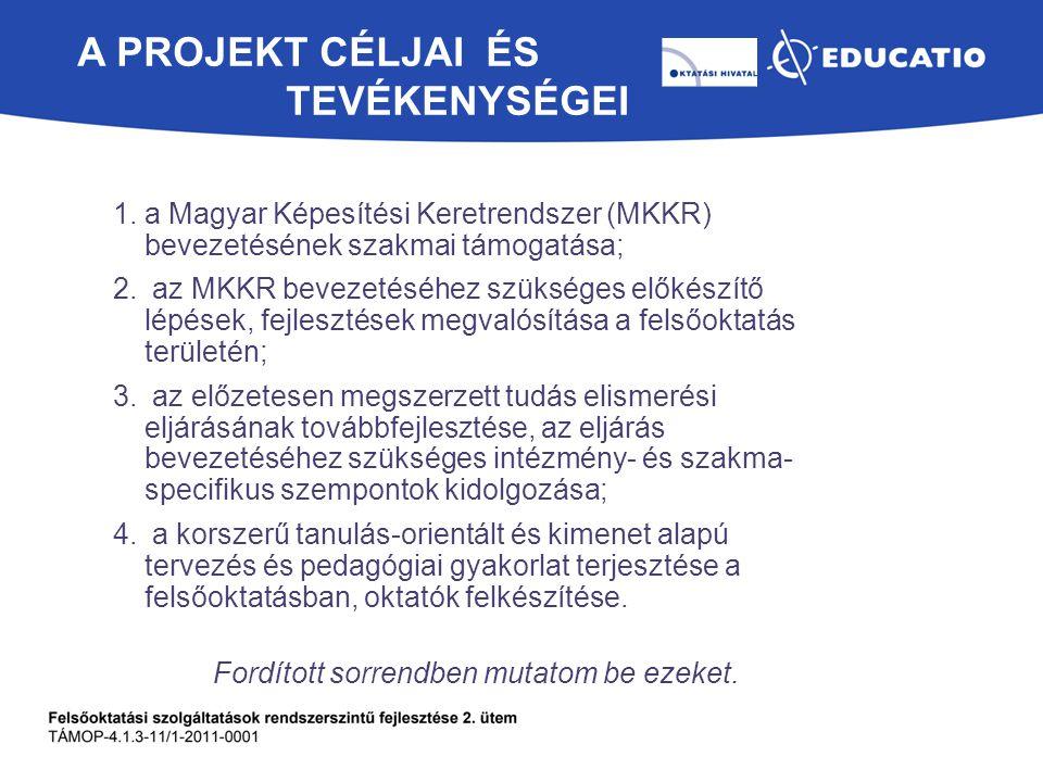 A PROJEKT CÉLJAI ÉS TEVÉKENYSÉGEI 1.a Magyar Képesítési Keretrendszer (MKKR) bevezetésének szakmai támogatása; 2. az MKKR bevezetéséhez szükséges elők