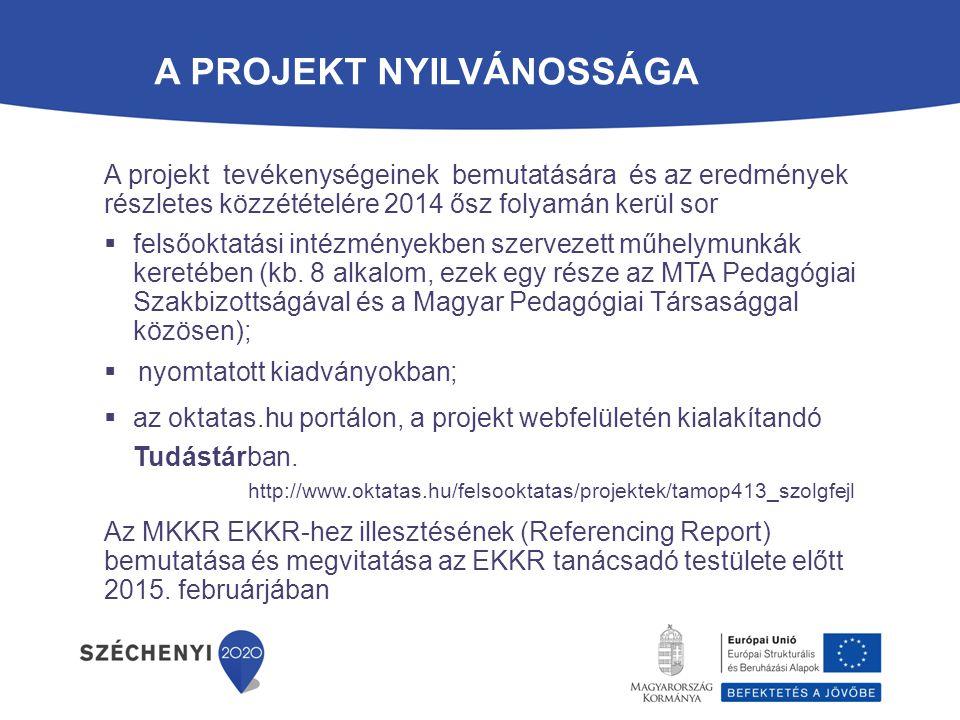 ? A projekt tevékenységeinek bemutatására és az eredmények részletes közzétételére 2014 ősz folyamán kerül sor  felsőoktatási intézményekben szerveze