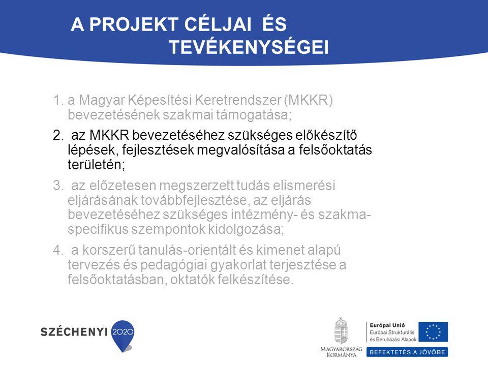 ? 1.a Magyar Képesítési Keretrendszer (MKKR) bevezetésének szakmai támogatása; 2. az MKKR bevezetéséhez szükséges előkészítő lépések, fejlesztések meg