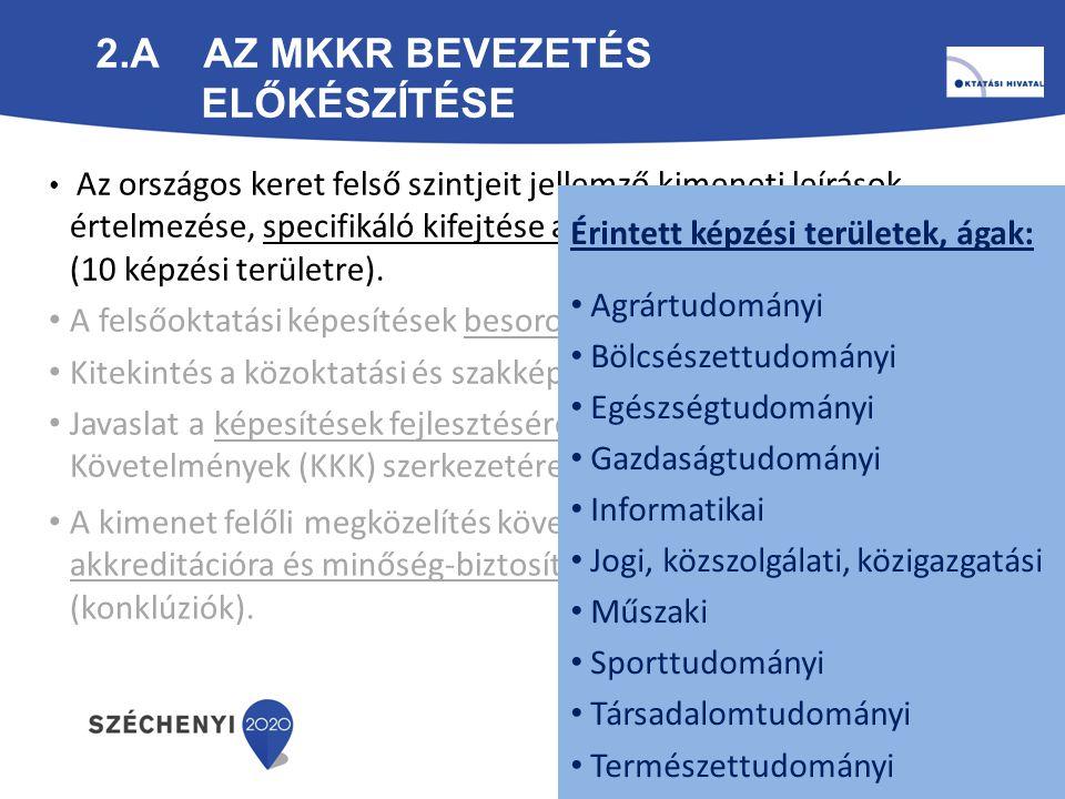 2.B KÉPZÉSI TERÜLETEK KIMENETI LEÍRÁSAI az MKKR 5., 6., 7.