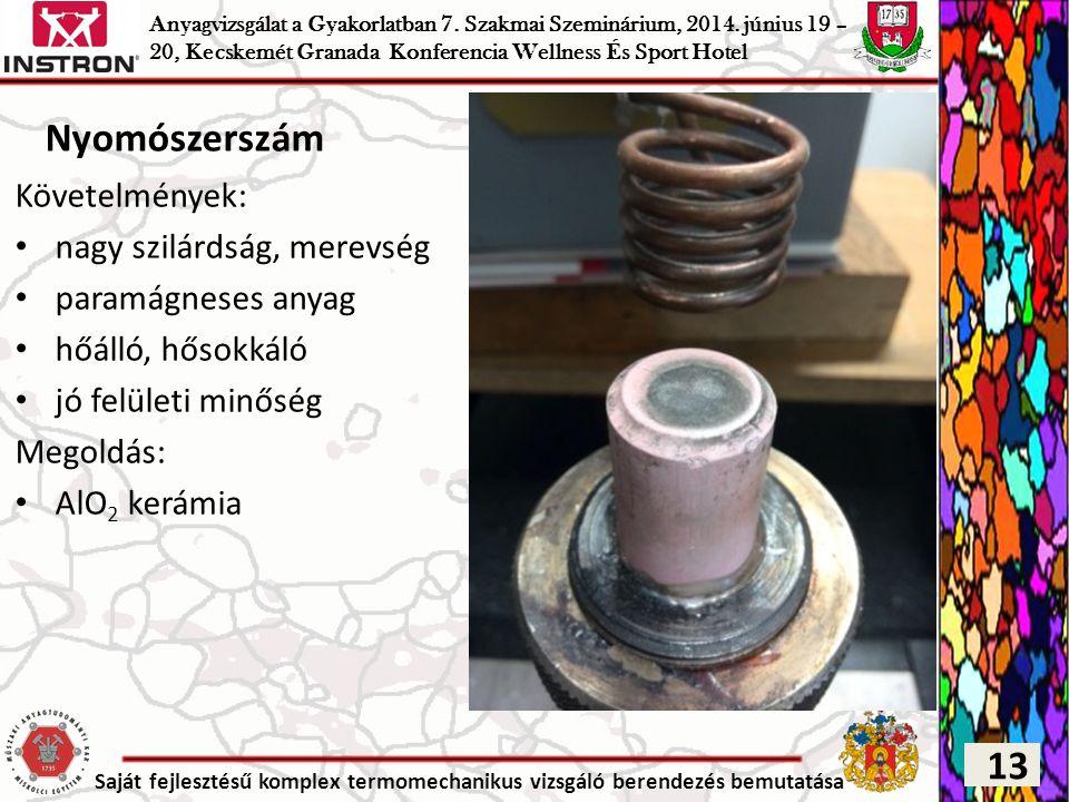 Saját fejlesztésű komplex termomechanikus vizsgáló berendezés bemutatása Nyomószerszám Követelmények: nagy szilárdság, merevség paramágneses anyag hőá