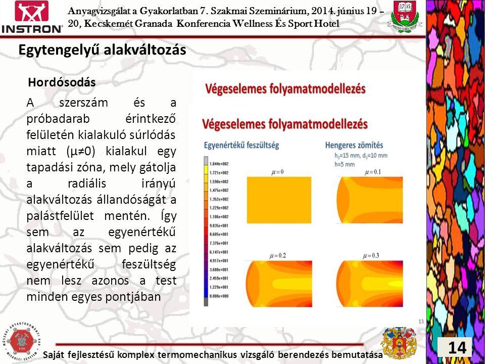 Saját fejlesztésű komplex termomechanikus vizsgáló berendezés bemutatása Hordósodás A szerszám és a próbadarab érintkező felületén kialakuló súrlódás