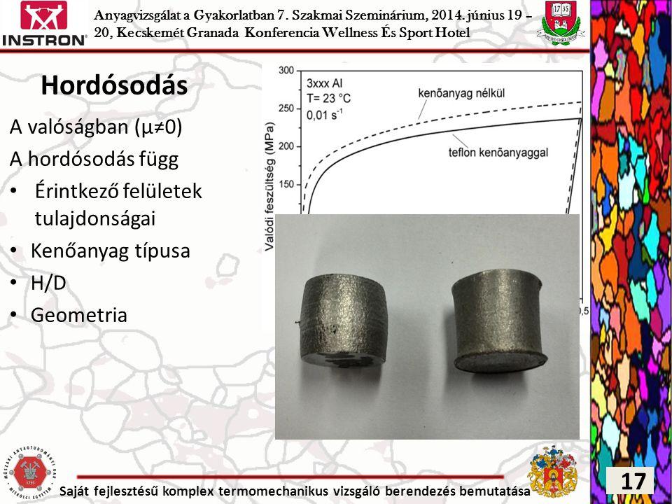 Saját fejlesztésű komplex termomechanikus vizsgáló berendezés bemutatása Hordósodás A valóságban (μ≠0) A hordósodás függ Érintkező felületek tulajdons