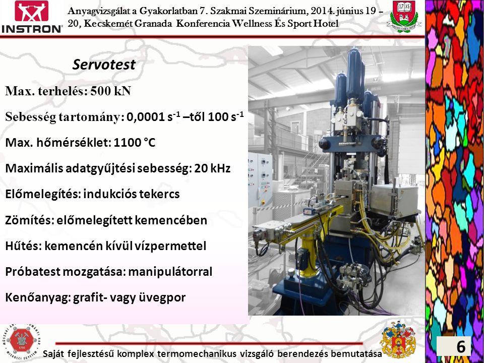 Saját fejlesztésű komplex termomechanikus vizsgáló berendezés bemutatása Servotest Max. terhelés: 500 kN Sebesség tartomány: 0,0001 s -1 –től 100 s -1