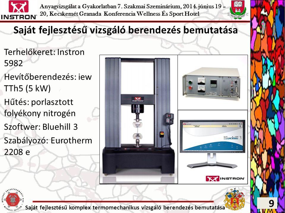 Saját fejlesztésű komplex termomechanikus vizsgáló berendezés bemutatása Szabályozott alakítás Elektromechanikus módon Szabályozás lehetőségei: – erőre – Sebességre – Feszültségre – Alakváltozási sebességre Specifikáció – Sebesség: 0,0001-1000 (mm/min) – Terhelhetőség: max.