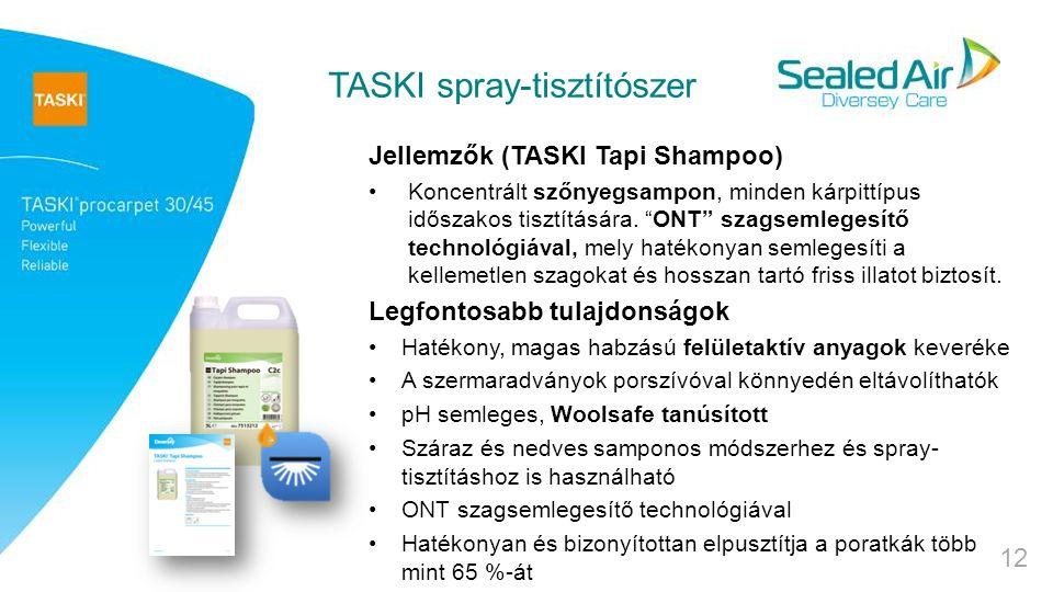 TASKI spray-tisztítószer Jellemzők (TASKI Tapi Shampoo) Koncentrált szőnyegsampon, minden kárpittípus időszakos tisztítására.