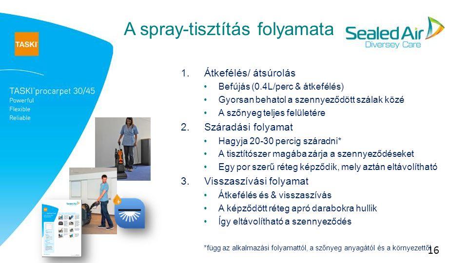 16 A spray-tisztítás folyamata 1.Átkefélés/ átsúrolás Befújás (0.4L/perc & átkefélés) Gyorsan behatol a szennyeződött szálak közé A szőnyeg teljes felületére 2.Száradási folyamat Hagyja 20-30 percig száradni* A tisztítószer magába zárja a szennyeződéseket Egy por szerű réteg képződik, mely aztán eltávolítható 3.Visszaszívási folyamat Átkefélés és & visszaszívás A képződött réteg apró darabokra hullik Így eltávolítható a szennyeződés *függ az alkalmazási folyamattól, a szőnyeg anyagától és a környezettől