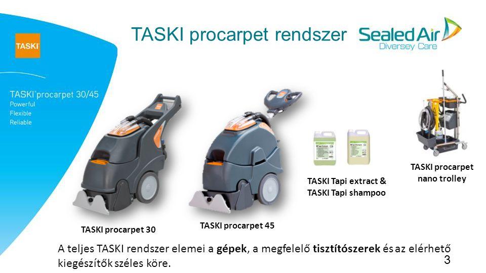 3 TASKI procarpet rendszer TASKI procarpet 30 TASKI procarpet 45 TASKI procarpet nano trolley A teljes TASKI rendszer elemei a gépek, a megfelelő tisztítószerek és az elérhető kiegészítők széles köre.