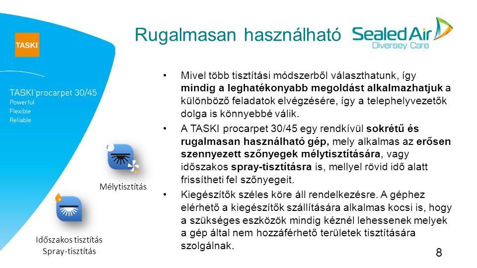 A legjobb teljesítmény Szőnyegtisztításnál az eredményt leginkább befolyásoló tényezők a kefe egyenletes felfekvése, valamint a hatékony vízszívás: Az egyenetlen kefefelület és tisztítóoldat felvitel foltokhoz vezet A hosszú száradási idő korlátozza az intézményi takarítás hatékonyságát A TASKI procarpet 30/45 azonban tökéletes megoldást jelent ezekre a problémákra Egyenletes kefefelület, az önszabályozó kefefejekkel (nincs szükség kézi állításra) Megfelelő kefék Gyors száradási idő (A TASKI professzionális szívófej technológiájának köszönhetően) A fenti tulajdonságoknak köszönhetően a megtisztított helyiségek tisztábbak lesznek és a gyors száradás miatt rövid időn belül újra használatba vehetők.