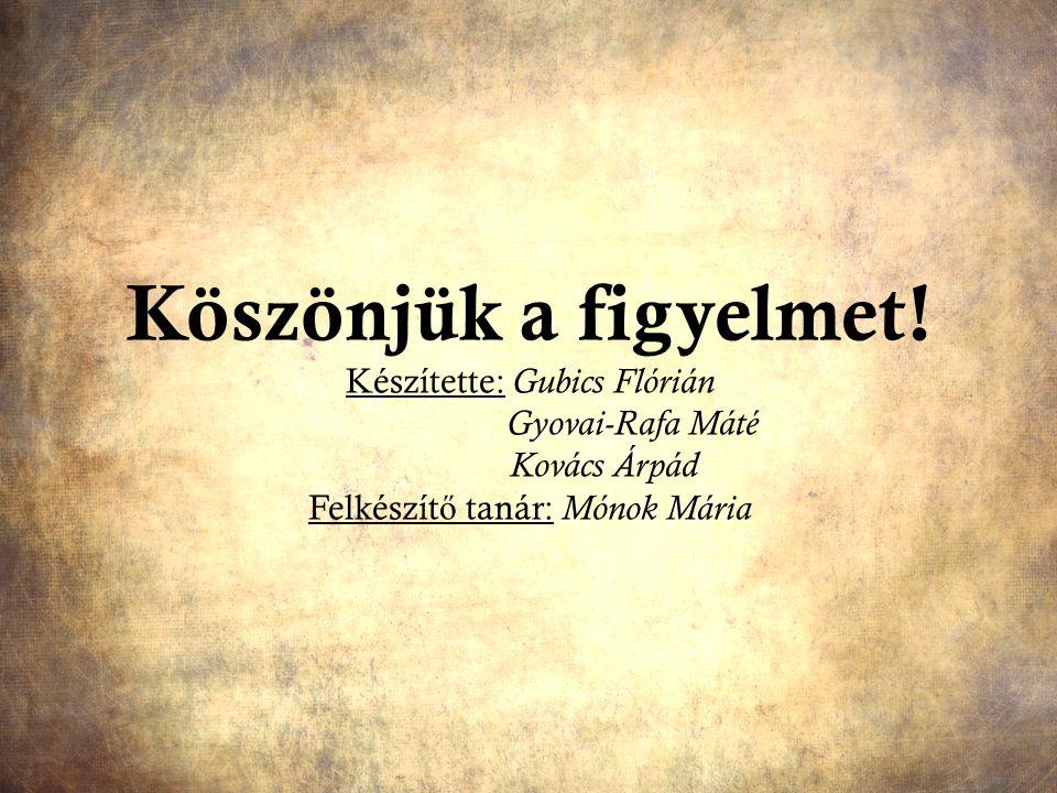 Köszönjük a figyelmet! Készítette: Gubics Flórián Gyovai-Rafa Máté Kovács Árpád Felkészít ő tanár: Mónok Mária