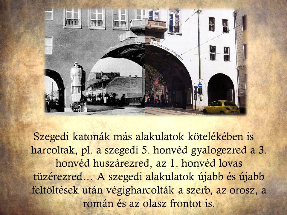 Szegedi katonák más alakulatok kötelékében is harcoltak, pl. a szegedi 5. honvéd gyalogezred a 3. honvéd huszárezred, az 1. honvéd lovas tüzérezred… A