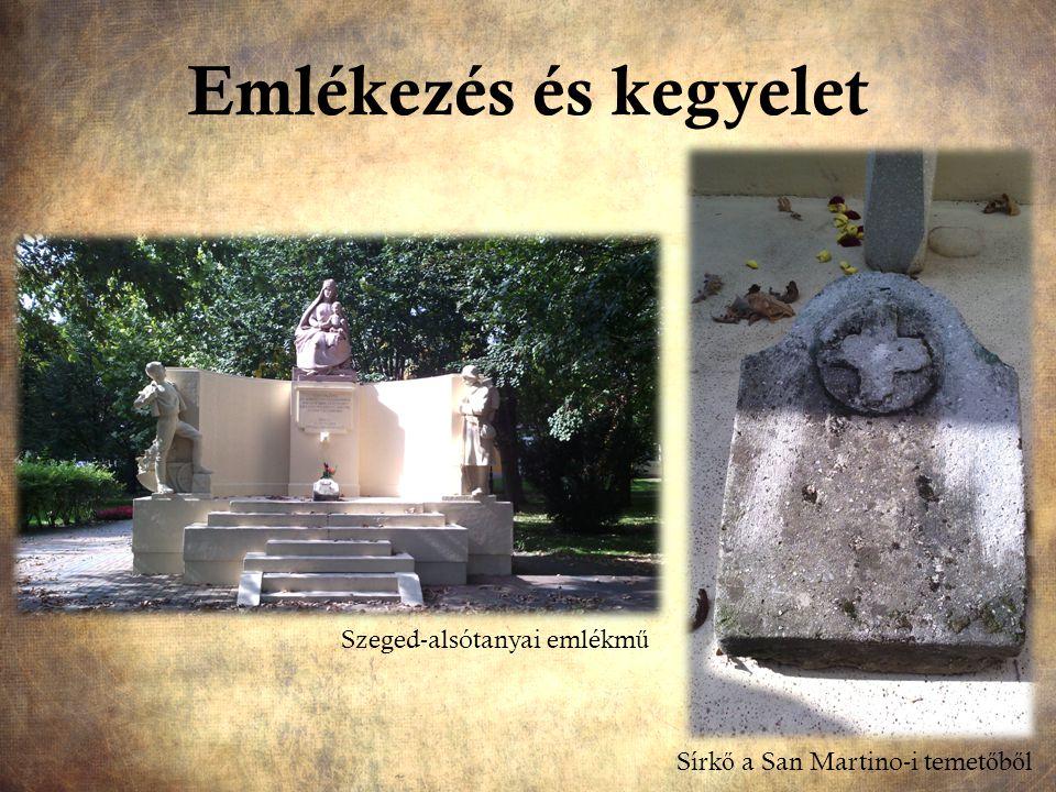 Emlékezés és kegyelet Szeged-alsótanyai emlékm ű Sírk ő a San Martino-i temet ő b ő l