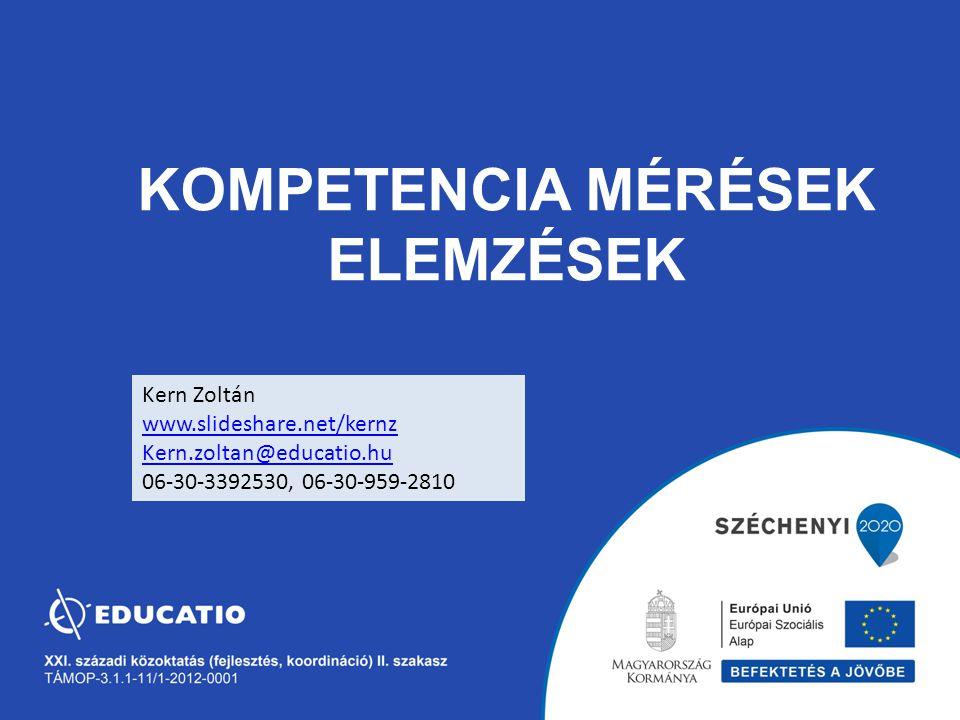 KOMPETENCIA MÉRÉSEK ELEMZÉSEK Kern Zoltán www.slideshare.net/kernz Kern.zoltan@educatio.hu 06-30-3392530, 06-30-959-2810