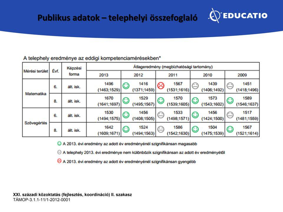 Publikus adatok – telephelyi összefoglaló