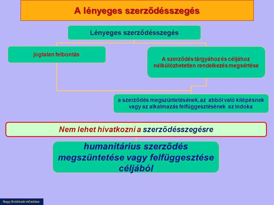 Nagy Boldizsár előadása A lényeges szerződésszegés Lényeges szerződésszegés jogtalan felbontás A szerződés tárgyához és céljához nélkülözhetetlen rend