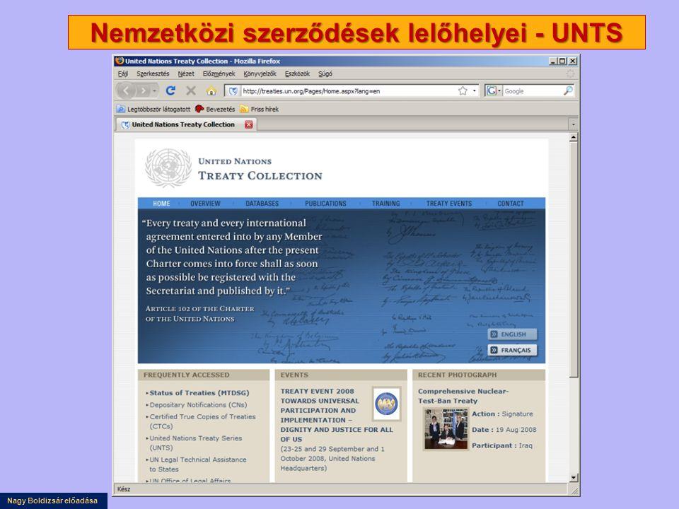 Nagy Boldizsár előadása Nemzetközi szerződések lelőhelyei - UNTS