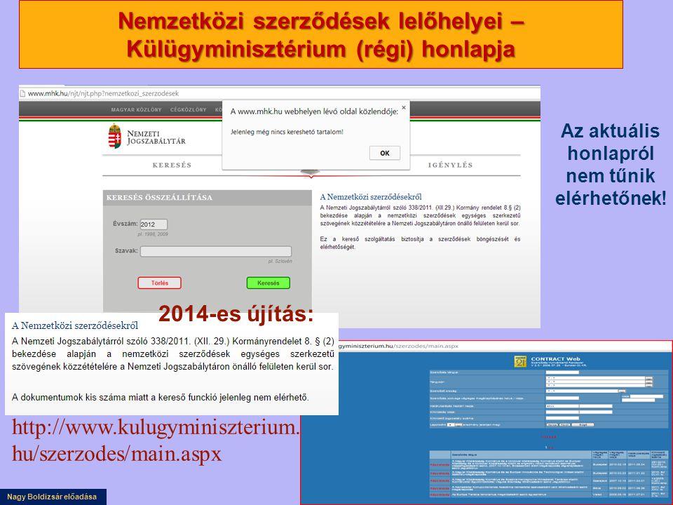 Nagy Boldizsár előadása Nemzetközi szerződések lelőhelyei – Külügyminisztérium (régi) honlapja Az aktuális honlapról nem tűnik elérhetőnek.
