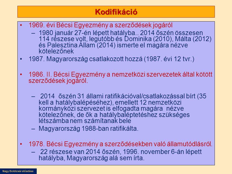 Nagy Boldizsár előadása Kodifikáció 1969. évi Bécsi Egyezmény a szerződések jogáról –1980 január 27-én lépett hatályba.. 2014 őszén összesen 114 része