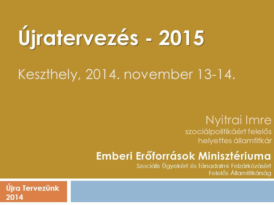 Nyitrai Imre szociálpolitikáért felelős helyettes államtitkár Újra Tervezünk 2014 Emberi Erőforrások Minisztériuma Szociális Ügyekért és Társadalmi Fe