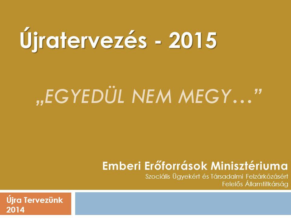 """Újra Tervezünk 2014 Emberi Erőforrások Minisztériuma Szociális Ügyekért és Társadalmi Felzárkózásért Felelős Államtitkárság Újratervezés - 2015 """"EGYED"""
