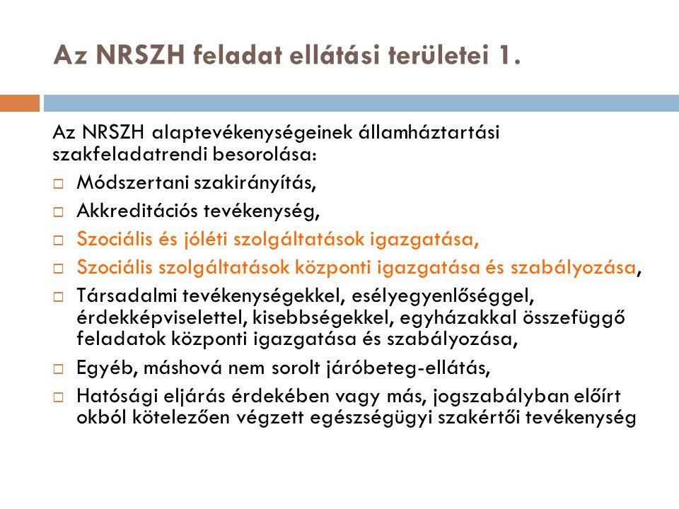 Az NRSZH feladat ellátási területei 1. Az NRSZH alaptevékenységeinek államháztartási szakfeladatrendi besorolása:  Módszertani szakirányítás,  Akkre