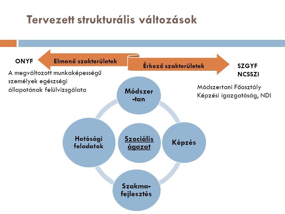 Megy Jön Szociális ágazat Módszer -tan Képzés Szakma- fejlesztés Hatósági feladatok Tervezett strukturális változások Elmenő szakterületek Érkező szakterületek ONYF SZGYF NCSSZI A megváltozott munkaképességű személyek egészségi állapotának felülvizsgálata Módszertani Főosztály Képzési igazgatóság, NDI