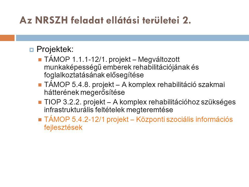Az NRSZH feladat ellátási területei 2.  Projektek: TÁMOP 1.1.1-12/1. projekt – Megváltozott munkaképességű emberek rehabilitációjának és foglalkoztat
