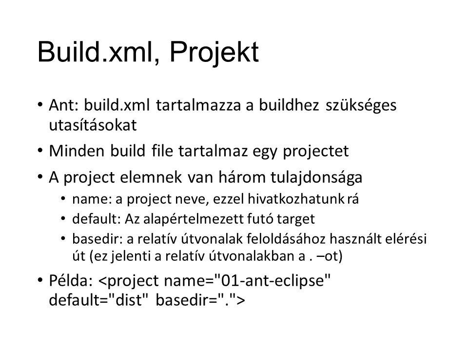 Build.xml, Projekt Ant: build.xml tartalmazza a buildhez szükséges utasításokat Minden build file tartalmaz egy projectet A project elemnek van három tulajdonsága name: a project neve, ezzel hivatkozhatunk rá default: Az alapértelmezett futó target basedir: a relatív útvonalak feloldásához használt elérési út (ez jelenti a relatív útvonalakban a.