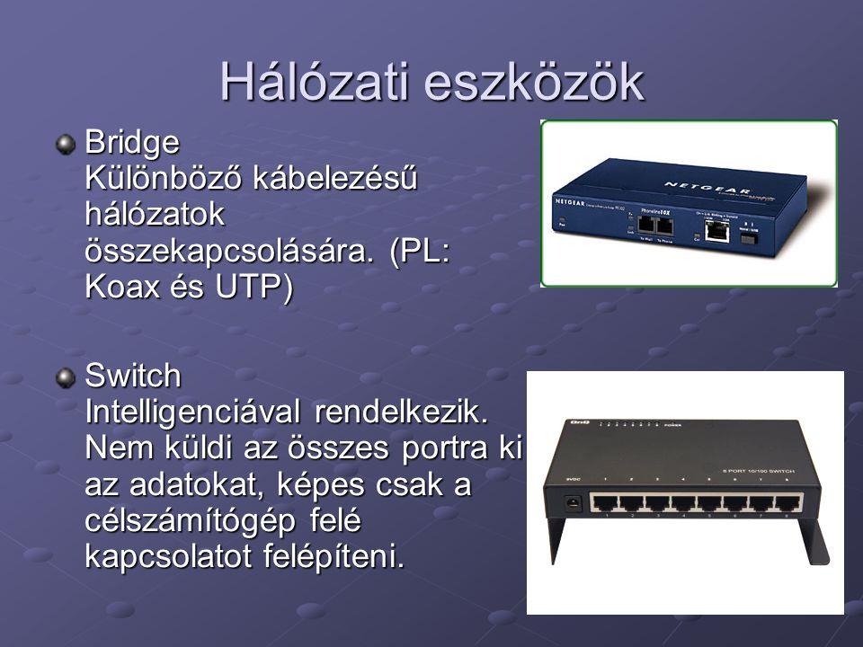 Hálózati eszközök Bridge Különböző kábelezésű hálózatok összekapcsolására.