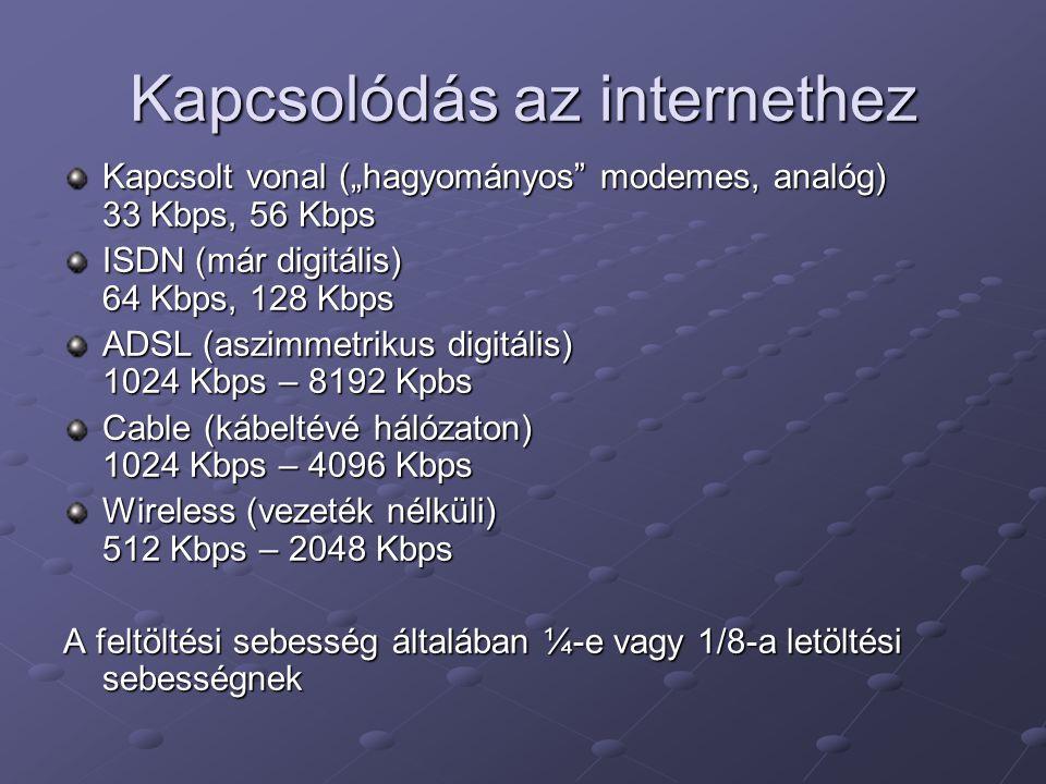 """Kapcsolódás az internethez Kapcsolt vonal (""""hagyományos modemes, analóg) 33 Kbps, 56 Kbps ISDN (már digitális) 64 Kbps, 128 Kbps ADSL (aszimmetrikus digitális) 1024 Kbps – 8192 Kpbs Cable (kábeltévé hálózaton) 1024 Kbps – 4096 Kbps Wireless (vezeték nélküli) 512 Kbps – 2048 Kbps A feltöltési sebesség általában ¼-e vagy 1/8-a letöltési sebességnek"""