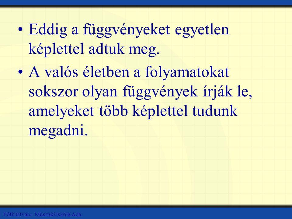 Tóth István – Műszaki Iskola Ada Az első képlet az f(x) értékét adja meg, ha x ≤ 1 A másik pedig ha x>1