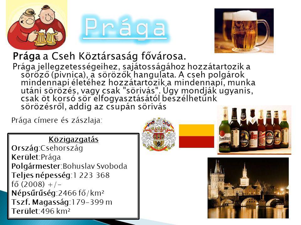 Prága a Cseh Köztársaság fővárosa. Prága jellegzetességeihez, sajátosságához hozzátartozik a söröző (pivnica), a sörözők hangulata. A cseh polgárok mi