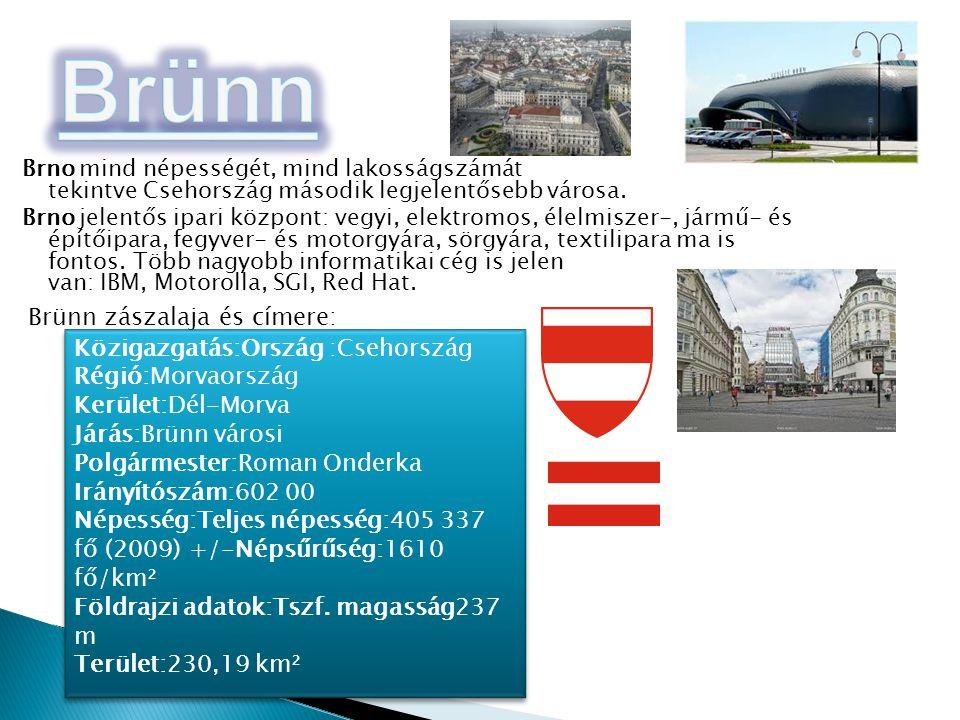 Brno mind népességét, mind lakosságszámát tekintve Csehország második legjelentősebb városa. Brno jelentős ipari központ: vegyi, elektromos, élelmisze