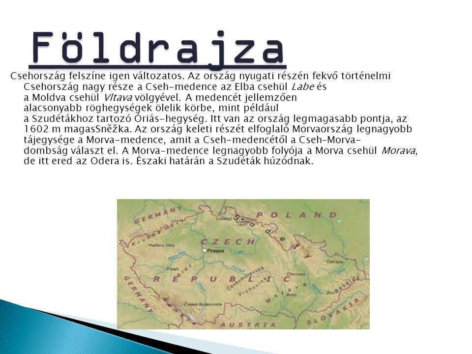 Csehország felszíne igen változatos. Az ország nyugati részén fekvő történelmi Csehország nagy része a Cseh-medence az Elba csehül Labe és a Moldva cs