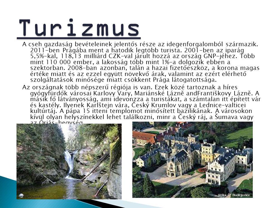 A cseh gazdaság bevételeinek jelentős része az idegenforgalomból származik. 2011-ben Prágába ment a hatodik legtöbb turista. 2001-ben az iparág 5,5%-k