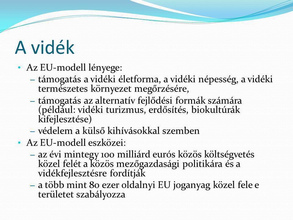 A vidék Az EU-modell lényege: – támogatás a vidéki életforma, a vidéki népesség, a vidéki természetes környezet megőrzésére, – támogatás az alternatív fejlődési formák számára (például: vidéki turizmus, erdősítés, biokultúrák kifejlesztése) – védelem a külső kihívásokkal szemben Az EU-modell eszközei: – az évi mintegy 100 milliárd eurós közös költségvetés közel felét a közös mezőgazdasági politikára és a vidékfejlesztésre fordítják – a több mint 80 ezer oldalnyi EU joganyag közel fele e területet szabályozza
