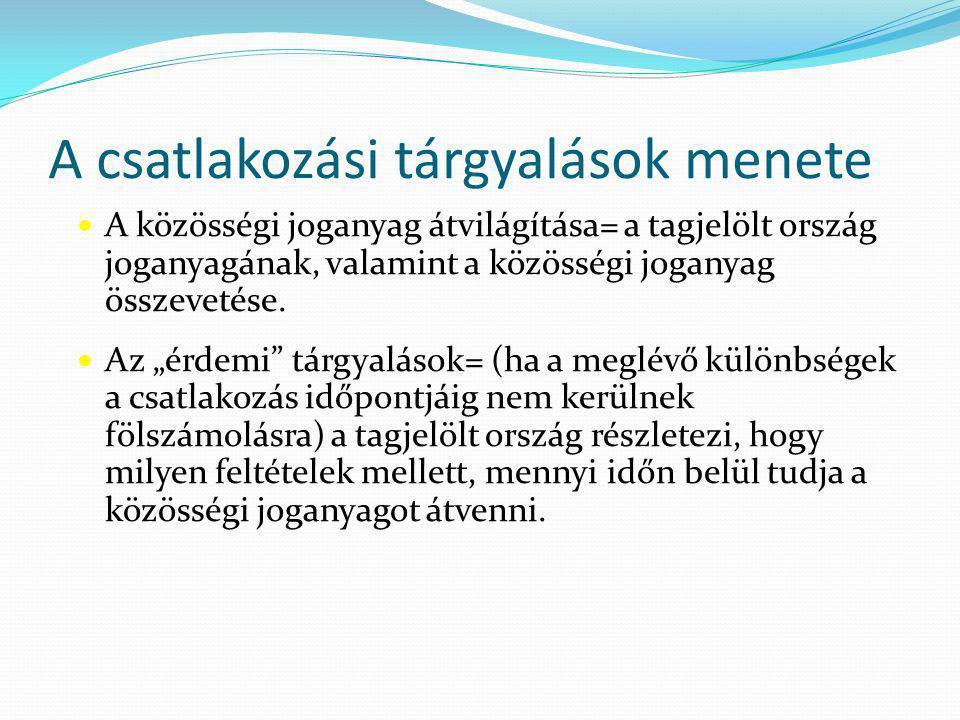 A csatlakozási tárgyalások menete A közösségi joganyag átvilágítása= a tagjelölt ország joganyagának, valamint a közösségi joganyag összevetése.