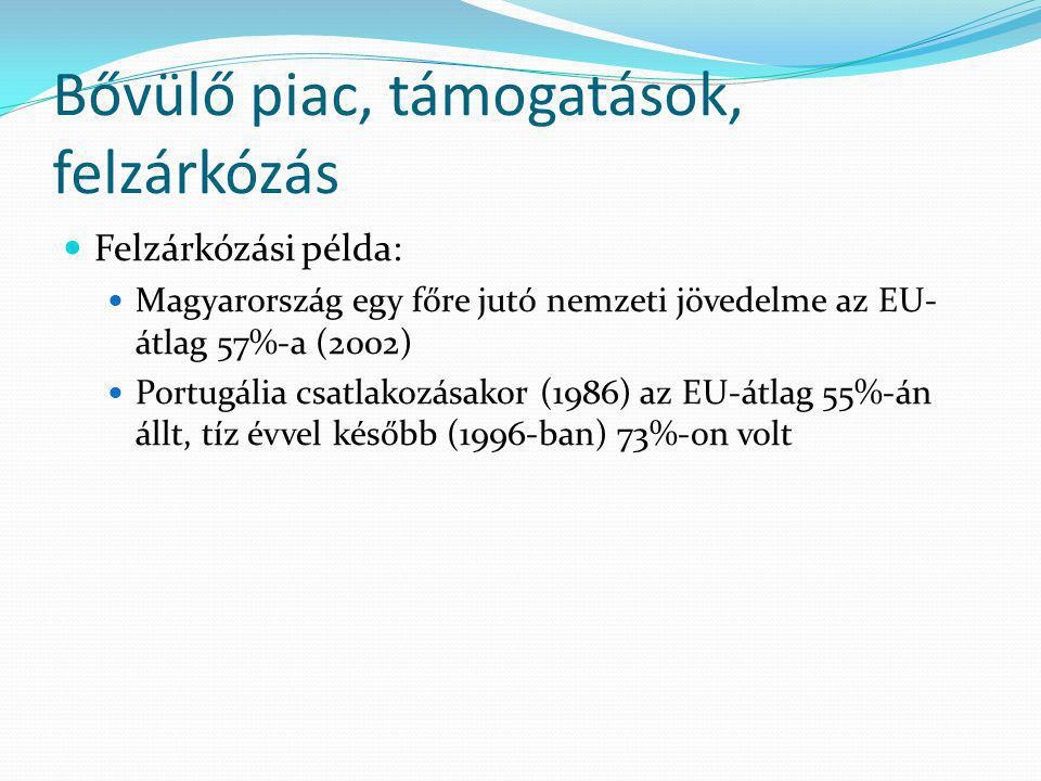 Bővülő piac, támogatások, felzárkózás Felzárkózási példa: Magyarország egy főre jutó nemzeti jövedelme az EU- átlag 57%-a (2002) Portugália csatlakozásakor (1986) az EU-átlag 55%-án állt, tíz évvel később (1996-ban) 73%-on volt