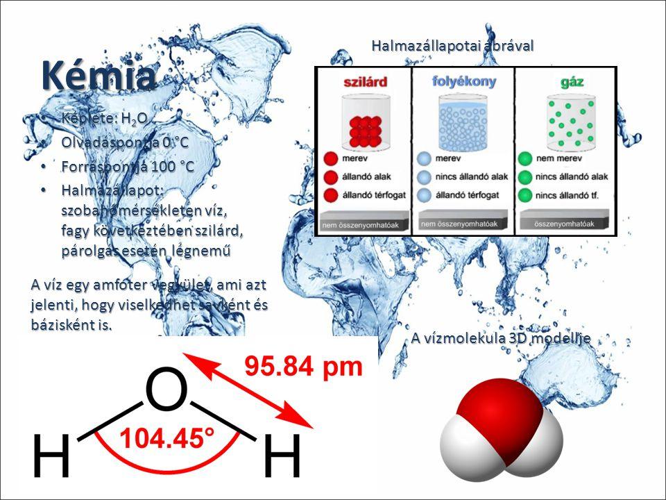 Kémia Képlete: H 2 O Képlete: H 2 O Olvadáspontja 0 °C Olvadáspontja 0 °C Forráspontja 100 °C Forráspontja 100 °C Halmazállapot: szobahőmérsékleten ví