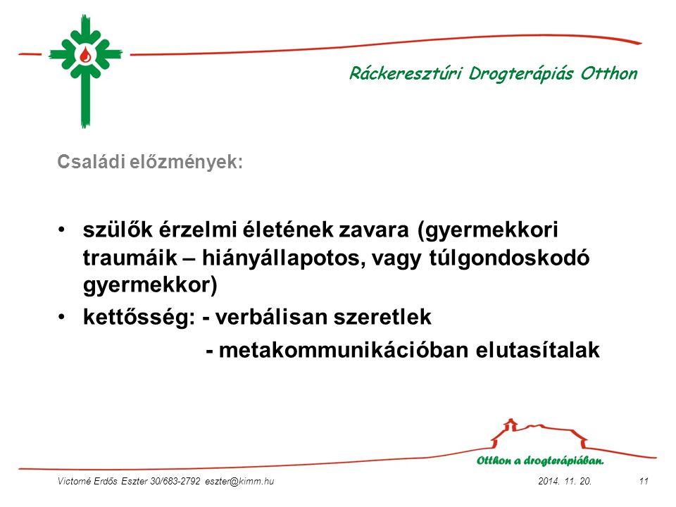 2014. 11. 20.Victorné Erdős Eszter 30/683-2792 eszter@kimm.hu11 Ráckeresztúri Drogterápiás Otthon Családi előzmények: szülők érzelmi életének zavara (