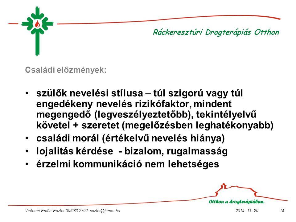 2014. 11. 20.Victorné Erdős Eszter 30/683-2792 eszter@kimm.hu14 Ráckeresztúri Drogterápiás Otthon Családi előzmények: szülők nevelési stílusa – túl sz