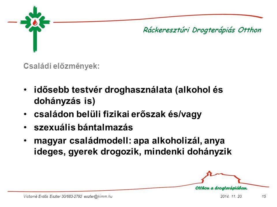 2014. 11. 20.Victorné Erdős Eszter 30/683-2792 eszter@kimm.hu15 Ráckeresztúri Drogterápiás Otthon Családi előzmények: idősebb testvér droghasználata (
