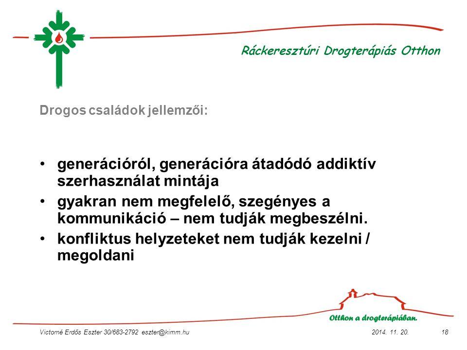 2014. 11. 20.Victorné Erdős Eszter 30/683-2792 eszter@kimm.hu18 Ráckeresztúri Drogterápiás Otthon Drogos családok jellemzői: generációról, generációra