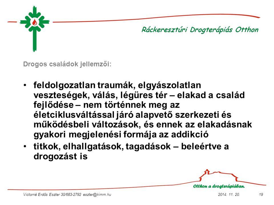 2014. 11. 20.Victorné Erdős Eszter 30/683-2792 eszter@kimm.hu19 Ráckeresztúri Drogterápiás Otthon Drogos családok jellemzői: feldolgozatlan traumák, e