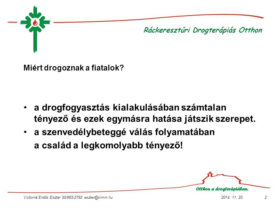 2014. 11. 20.Victorné Erdős Eszter 30/683-2792 eszter@kimm.hu2 Ráckeresztúri Drogterápiás Otthon Miért drogoznak a fiatalok? a drogfogyasztás kialakul
