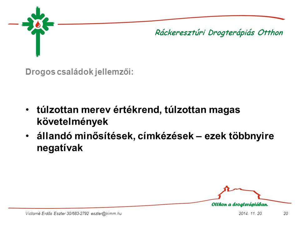 2014. 11. 20.Victorné Erdős Eszter 30/683-2792 eszter@kimm.hu20 Ráckeresztúri Drogterápiás Otthon Drogos családok jellemzői: túlzottan merev értékrend