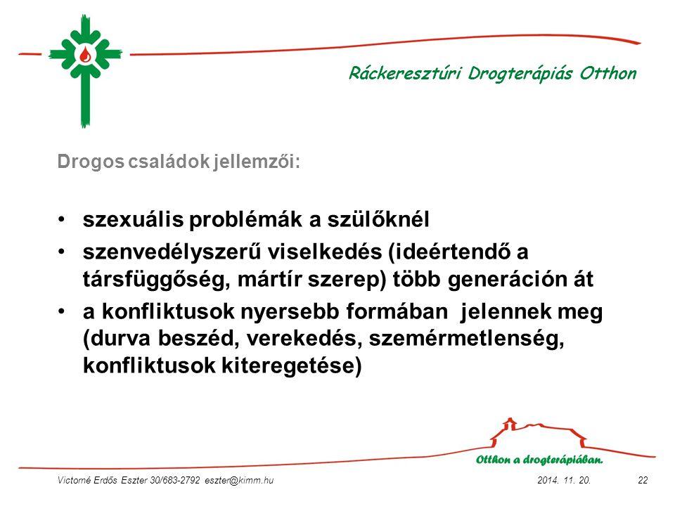 2014. 11. 20.Victorné Erdős Eszter 30/683-2792 eszter@kimm.hu22 Ráckeresztúri Drogterápiás Otthon Drogos családok jellemzői: szexuális problémák a szü