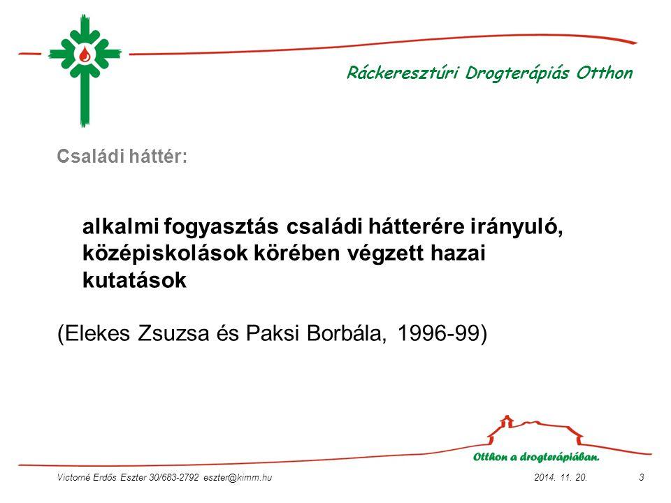 2014. 11. 20.Victorné Erdős Eszter 30/683-2792 eszter@kimm.hu3 Ráckeresztúri Drogterápiás Otthon Családi háttér: alkalmi fogyasztás családi hátterére