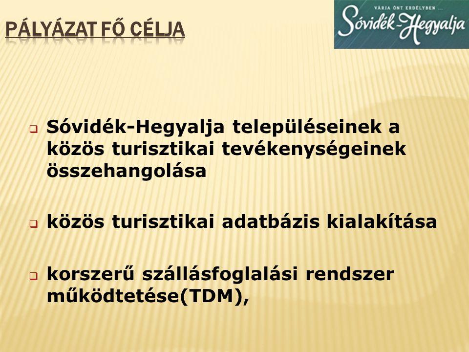  A települések turisztikai érdekképviselete  Sóvidék-Hegyalja turisták számának és a vendégéjszakák számának növelése